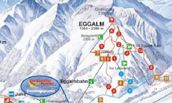 Náhled skimapy areálu Eggalm (Tux - Lanersbach)