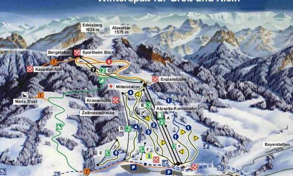 Náhled skimapy areálu Alpspitze / Edelsberg