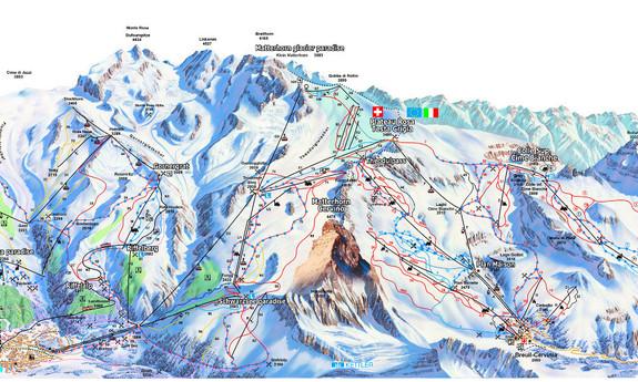 Náhled skimapy areálu Zermatt - Cervinia