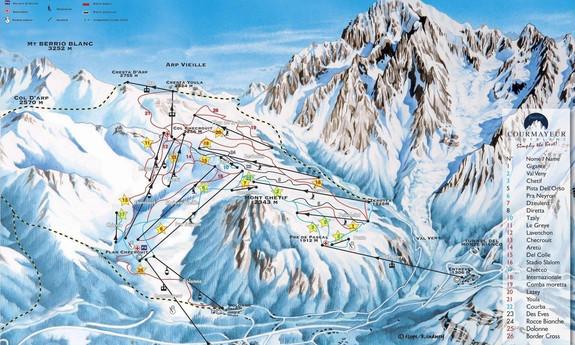Náhled skimapy areálu Courmayeur / Monte Bianco
