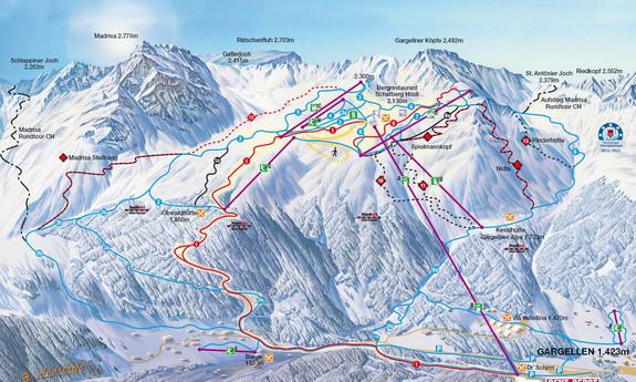 Náhled skimapy areálu Bergbahnen Gargellen