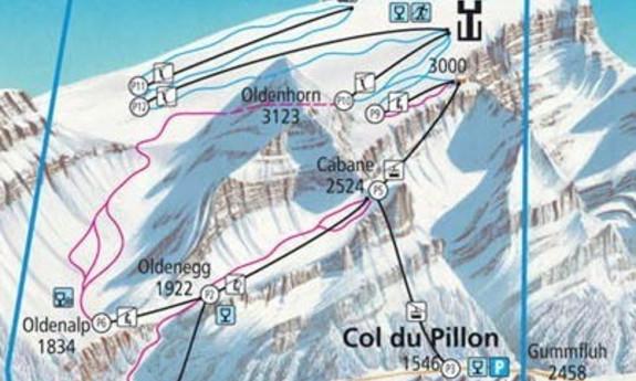 Náhled skimapy areálu Les Diablerets / Glacier 3000