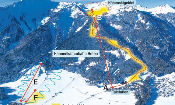 Náhled skimapy areálu Hahnenkamm