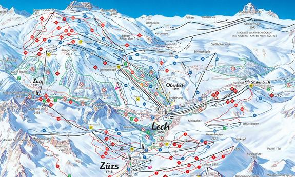 Náhled skimapy areálu Lech - Zürs am Arlberg