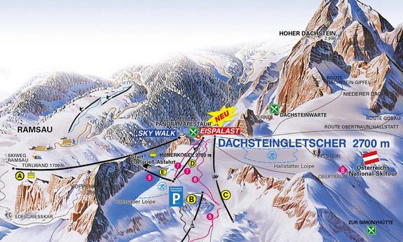 Náhled skimapy areálu Lodowiec Dachstein