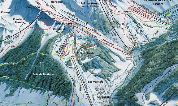 Náhled skimapy areálu Massif de l'Aiguille