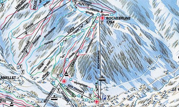 Náhled skimapy areálu Rochebrune / Côte 2000