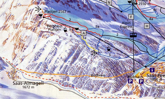 Náhled skimapy areálu Saas - Almagell