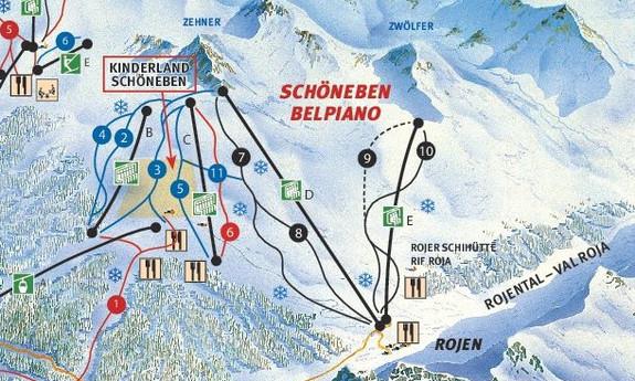 Náhled skimapy areálu Schöneben / Rojen