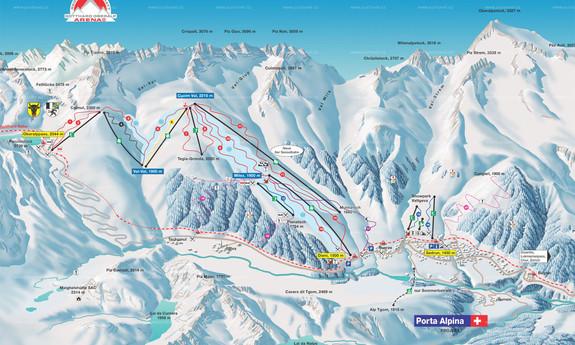 Náhled skimapy areálu Sedrun Oberalp