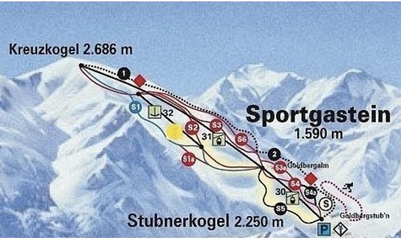 Náhled skimapy areálu Sportgastein