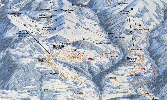 Náhled skimapy areálu Villars - Gryon