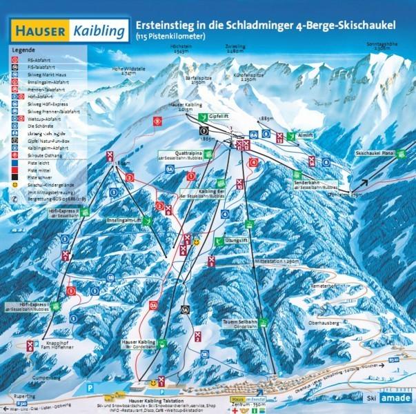 Lyžařská mapa sjezdovek areálu Hauser Kaibling